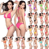Wholesale wholesale string bikinis - String Swim Bathing Suit Sexy Women Solid Swimwear Push Up Two Pieces Bikini Beach Clothing 11 Colors OOA2858