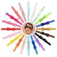 Wholesale princess headdress - 20 Colors Baby Hair Headbands Bows 3 Inch Ribbon Bow Headbands for Girls Children Hair Accessories Kids Princess Elastic Headdress BL102