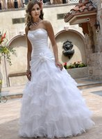 Wholesale Taffeta Puffy Wedding Dress - White Ball Gowns Wedding Dresses for Women Puffy Princess Strapless Taffeta Organza Lace up Corset Bridal Gowns 2018