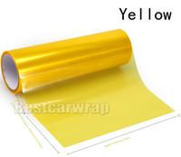 vinil de farol amarelo venda por atacado-4 rolos Amarelo Faróis Filme matizador Farol Tint tail lamp Lâmpada de vinil cobrindo tamanho de folha 0.3x10m / Roll