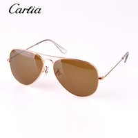 Wholesale Metal Sights - 2016 classical sunglasses mans pilot brown sun glasses 58mm 62mm brand designer sunglasses high quality metal frame glass lense with origina