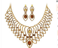 Wholesale Earings Color Diamond - wonderful champagne color diamond crystal wedding bride set necklace earings (spwhy) h