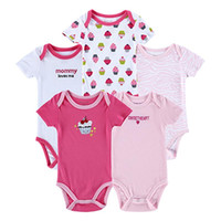 Wholesale Cheap Newborn Clothes For Girl - 2016 Hot 5 Pcs lot Babe Clothing Newborn Baby Rompers Carters Original Baby Girl Clothing Cheap Funny Baby Clothes For Sale