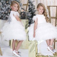 Wholesale Dress Girl Feather - Adorable Feather Flower Girls Dresses For Weddings Bow Knot Ruffles Kids Pageant Gowns Knee Length Sleeveless Communion Christmas Dress