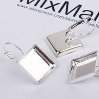 Wholesale Square Bezels - 40pcs 16MM glass cabochons Silver Plated Square French Lever Back Earrings Blanks earring bezels base setting for DIY earring post