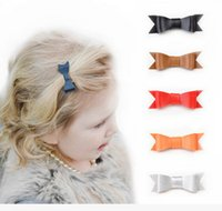Wholesale Synthetic Hair Bow Clip - Baby girls hair clips 9 Colors PU Leather Barrettes Synthetic Leather Bow Hair Clips size 7.9*2.5cm Baby Girl Bowknot Baby Hairpins T0042