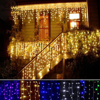 Wholesale Outdoor Led Lights Icicle - 3.5m Droop 0.3-0.5m Curtain Icicle Led String light Christmas Light Outdoor Decoration 220V 110V led holiday light New Year Garden Wedding