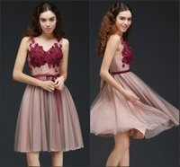 Wholesale Simple Floral Prom Dresses - 2018 New Designers Short Homecoming Dresses with Burgundy 3D Floral Flowers A-Line Cocktail Gowns Formal Party Wear Cheap In Stock CPS657