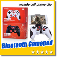 Wholesale Remote Pc Iphone - 2016 New Wireless Bluetooth Joystick Gamepad Gaming Controller Remote Control for Android iPhone iCade Games PC Holder Included