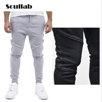 Wholesale high waist harem - Wholesale-Fashion Biker Joggers Slim Fit Skinny Sweatpants Harem Pants Men Hip Hop Swag Clothes Clothing high street Gray Black Kanye West