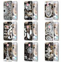 Wholesale Iphone Hard Case Music - Liquid Glitter Quicksand Hard Case Flower Henna Woman Music Pineapple Feather Dreamcatcher For Iphone 6S 6 Plus Samsung Galaxy S5 S6 S7 EDGE