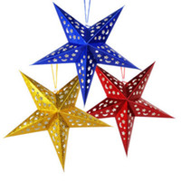 Wholesale Laser Products Wholesalers - 30CM Star Christmas decorations Three-dimensional laser pentagram Bar ceiling decoration Ornaments Star Four Color Product Code:95-1089