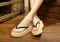 Wholesale Cloth Heels Wholesale - 07232 Wholesale Womens Summer Slippers Bohemia Flip Flops High Heel Anti-slip Sandals Cloth Belt