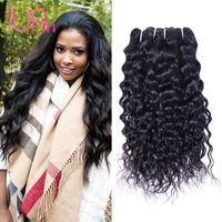 Wholesale Cheap Virgin Bundles Deals - Cheap Weave Brazilian Virgin Hair Water Wave 3 Bundles Deals Raw Indian Malaysian Peruvian Virgin Hair Remy Human Hair Bundles Extensions
