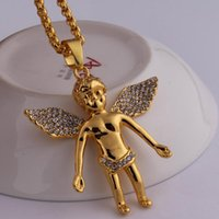 Wholesale Real Red Crystal Necklace - gold chain for men bling bling hip hop jewelry Micro Angel Piece Necklace cherub pendant colar 24K real gold chain collier femme