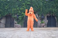 Wholesale Pluto Dog Costume - Pluto orange Dog Cartoon Mascot Costume Adult Size Fancy Dress Halloween fancy dress EPE head carnival costume party x'mas free shipping