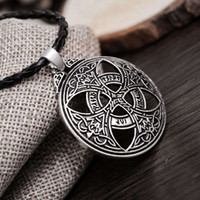 Wholesale Red Knot Necklace - New Punk Vinkings Pendant Necklace Large Celttic Knot Love Pendant Viking Norse RUNE Pendant Necklace Wiccan Pagan Asatru Jewelry