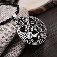 Wholesale Large Love Necklace - New Punk Vinkings Pendant Necklace Large Celttic Knot Love Pendant Viking Norse RUNE Pendant Necklace Wiccan Pagan Asatru Jewelry