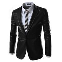 Wholesale Green Leather Jackets For Men - Wholesale- 2016 Spring Single Button Black Deep Green Original Casual PU Suit Jacket Mens Faux Leather Suits Formal Clothes Blazer For Men