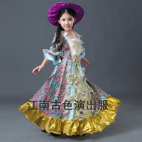 Wholesale Girls Renaissance Dress - Free ship children's girls medieval flower embroidery royal princess stage lace flower renaissance gown medieval dress with hat