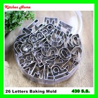 Wholesale Plastic Mold Alphabet - 26 Alphabet English Letters DIY Biscuit Baking Mold Set Stainless Steel Cake Decoration Tool Vegetables Pineapple Cookie Baking Mold