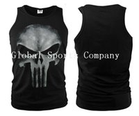 Wholesale Tshirt Spandex For Men - Lycra Cool Tshirt The Punisher Skull T Shirt Slim Black O-Neck Short Sleeve Tees Fashion Cotton T Shirt For Women Men