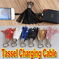 Wholesale Usb Champagne - Tassel Charging Cable For Android Micro USB Fast Charging Capability Best Power Bank Companion With Key Chain.