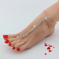 Wholesale ankle toe jewelry - 1 Pair Barefoot Beach Double Chain Foot Tassel Toe Chain Crystal Rhinestone Silver Anklet Ankle Bracelet Chain Women Foot Jewelry