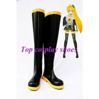 Wholesale Hatsune Miku Shoes - Wholesale-Freeshipping VOCALOID Hatsune Miku Black and yellow PU Leather Cosplay Shoes boots custom-made for Halloween Christmas festival