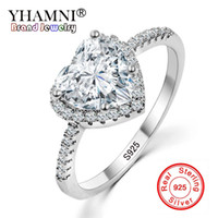 Wholesale Silver Ring Hearts - YHAMNI Fashion Romantic Heart Ring Original 925 Sterling Silver Wedding Jewelry Diamond Crystal Promise Rings For Women KYRA-013