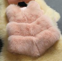 Wholesale Wholesale Faux Fur Long Vest - DHl free Plus size 3XL Candy color gorgeous Girl Faux Fox Fur Vest short Coat V neck gilet patchwork PU Sleeveless outwear coats