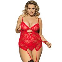 ingrosso più lingerie di stringa-Nuove donne sexy Lace Babydoll G-string Intimo da notte Lingerie Siamese Sleepwear Plus 5 Colore 8 Taglia
