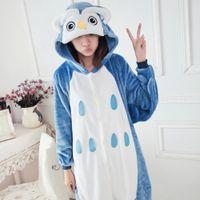 Wholesale Anime Costume Owl - New Hot Sale Lovely Cheap Blue Owl Kigurumi Pajamas Anime Pyjamas Cosplay Costume Unisex Adult Onesie Dress Sleepwear Halloween S M L XL