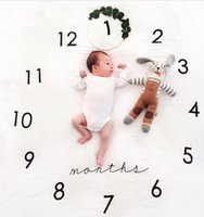 Wholesale White Photo Cloth - New Ins Baby photography background blanket photo prop Baby backdrops infant Flower Photo Blanket Number print cloth mat 100*100CM