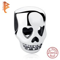 Wholesale Jewelry Skull 925 Silver - BELAWANG 100% 925 Sterling Silver Skull Beads Fashion Skull Charms Fashion Women Jewelry fit Pandora Charm Bracelets&Bangles DIY Making