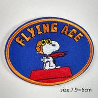 ingrosso occhiali da sole per bambini-Snoopy Sitting On Doghouse Flying Ace Pilot Goggles Iron on Patch ricamata fumetto Camicia regalo per bambini baby bag borsa pantaloni cappotto Decorare