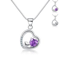 Argento sterlina 925 viola e bianco zircon best friends commercio all'ingrosso poco costoso (senza catena)