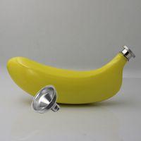 oz hunileri toptan satış-Yaratıcı İçme Hediye 21jj C R için Meyve Şekli Su Şişesi 5 OZ Paslanmaz Çelik Sarı Muz Hip Flask Ve Huni