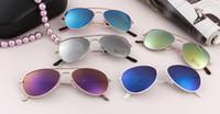 ingrosso ragazze ragazze bicchieri-Moda bambini specchio lente occhiali da sole Bambini ragazza ragazzo rana specchio riflettente caramelle colore cornice occhiali da sole estate spiaggia all'aperto Sunblock