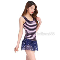 Wholesale Korean Swimsuit Women - 2016 new striped skirt split the conservative swimwear navy style spa Korean women swimsuit