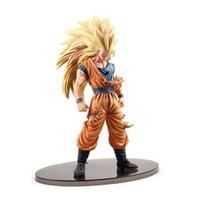 goku modeli toptan satış-Chanycore 21 Cm Japon Anime Dragon Ball Z Savaş Hasar Ver Süper Saiyan 3Son Goku Gohan Vegeta Action Figure Pvc Model Oyuncak