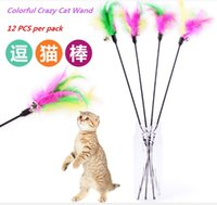 Wholesale Dog Products Free Shipping - 12pc lot Free Shipping! Wholesale Pet Products cat teaser wand toy pet dog cat feather toys with bell elastoplastic products for cat