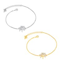 Wholesale ankle cuffs chains resale online - New Jewelry Ladies Tree of Life Zircon Chain Bracelet K Gold Plated Copper Copper Platinum Ankle Anklet Charm Cuff Bangle Xmas Gift Girl