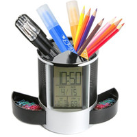 Wholesale Thermometer Calendar Pen Holder - Domain1 Multifunctional Pen Holder Pencil Container Digital LED Desk Clock Mesh with Calendar Timer Alarm Clock Thermometer 2 Small Drawer