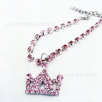 Wholesale Diamond Pet Id Tags - Cute Pet Dog Puppy Cat Puppy Collars Rhinestones Bling Crystal Diamond Loving Pendant Pet Necklace Collar Dog Jewelry