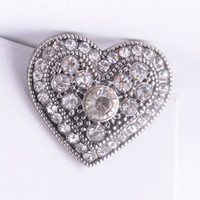 Wholesale Wholesale Jewerly Wedding - Newest Snap Ginger Button Heart 18MM Rhinestone Noosa Snap button Interchangeable Diy Jewerly Chunk Button For Noosa Bracelet Necklace