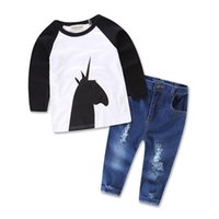 Wholesale Newest Style Jeans - ins 2016 Newest Summer Girls Childrens Clothing Sets Cotton Unicorn Printed Long Sleeve tshirts Jeans Set Kids Clothes Suits Wholesale