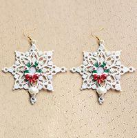 ingrosso porcellana bianca di albero di natale-Nuovo Natale XMAS Tree White Snowflake Designer Earings Dangle Chandelier a buon mercato Cina Jewellry Bling per le donne Ragazze Fashion Charm