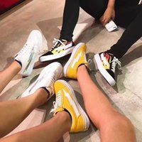 Wholesale Pops Store - Revenge X Storm Tokyo Pop-up Store Kanye Flame Canvas Sneakers Men Women Low Top Black White Red Blue Green Lightning Skate Shoes Size 36-44