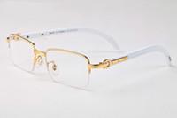 Wholesale glasses half frame cat eye for sale - buffalo horn sunglasses brand designer glass clear lens sunglasses half frame wooden legs come with box and cases
